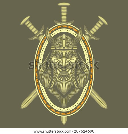 Viking and Swords vector illustration - stock vector