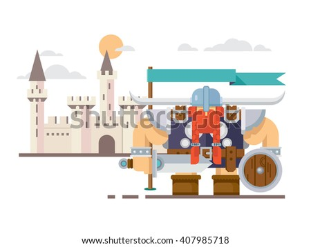 Viking and the castle - stock vector