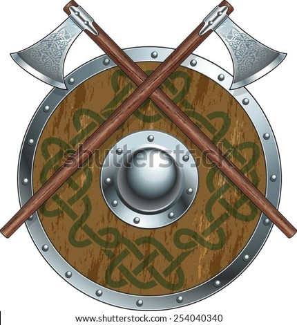 viking battle axes and shield