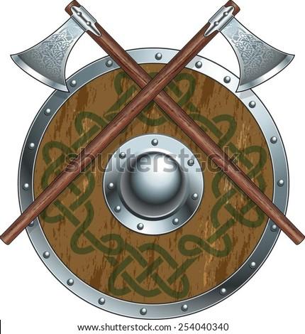 viking battle axes and shield - stock vector