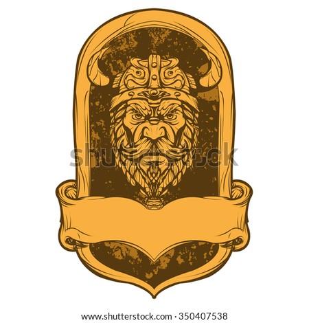 viking head illustration - stock vector