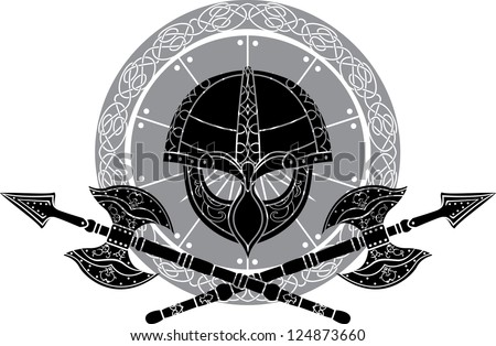 Viking helm with crossed axes against shields - stock vector