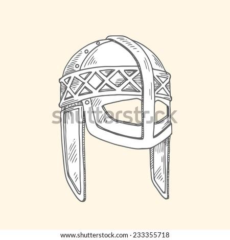 viking helmet - stock vector