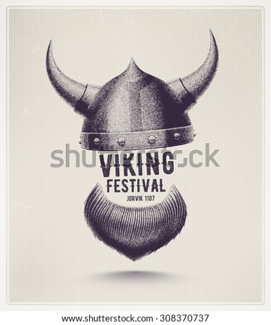 Viking helmet and beard, Jorvik viking festival, eps 10