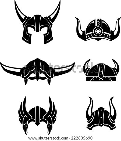 Viking Helmet Set, protective head gear or equipment in medieval times - stock vector