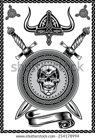 Viking Helmet Skull with Sword - stock vector