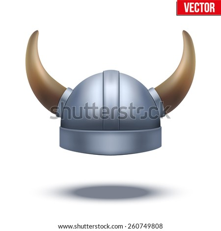 Viking helmet with horns. Vector illustration isolated on white background. - stock vector