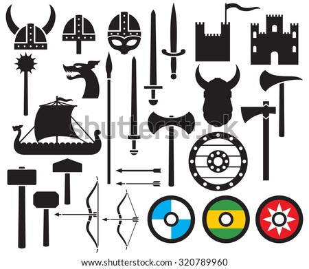 viking icons collection (sword, round wooden shield, long ship, head horned helmet, mace, hammer, arrow, bow, axe, tower, old castle) - stock vector