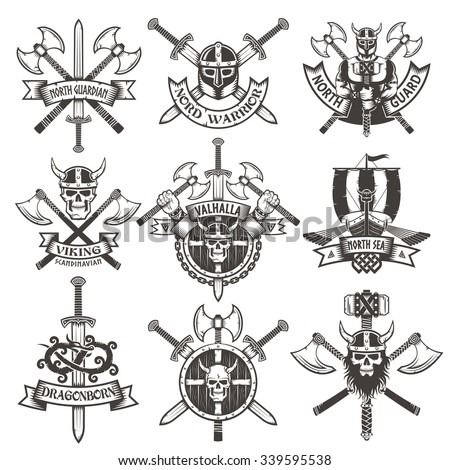 Viking logos Set in vintage style. Emblems with skulls and axes.  - stock vector