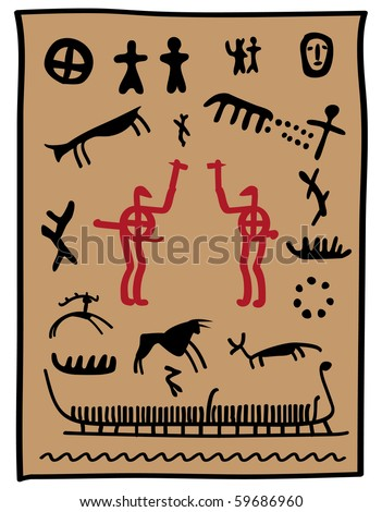 Viking Painting with animals hunters and warriors - stock vector