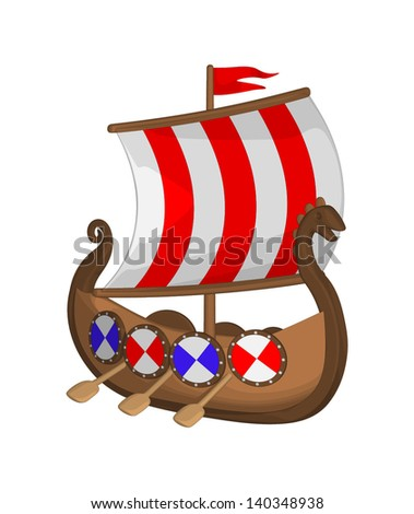 Viking Ship isolated on a white background. - stock vector