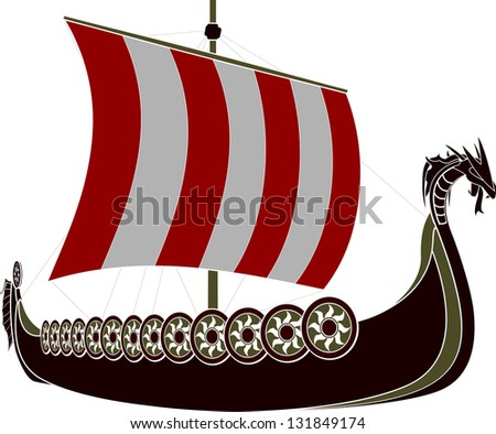 viking ship. stencil. vector illustration - stock vector