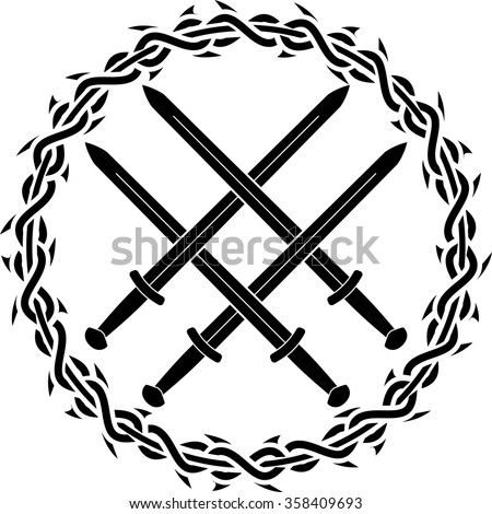 viking symbol with swords. second variant. vector illustration