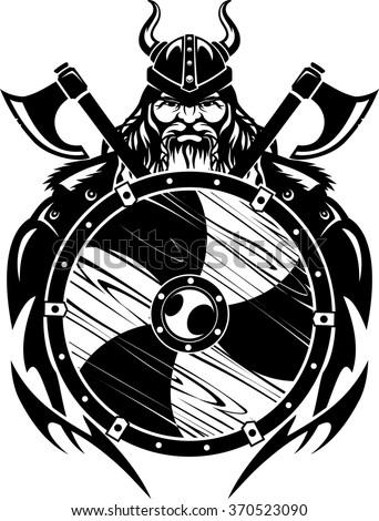 Viking Warrior and Shield - stock vector