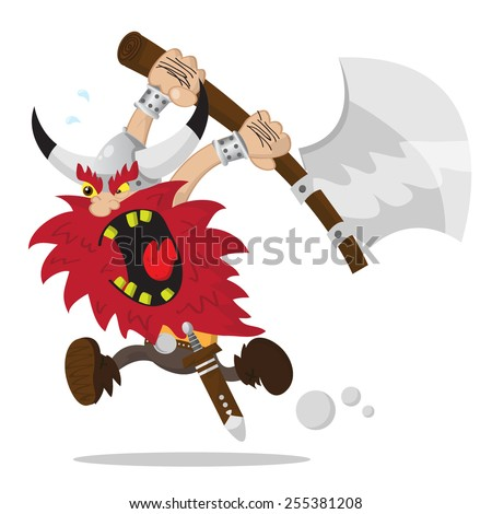 Viking with an axe attacking in rage - stock vector