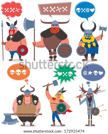 Vikings: 6 cartoon Vikings over white background. No transparency and gradients used.  - stock vector