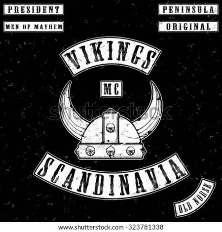 vikings gang leather jacket tee shirt graphic design - stock vector