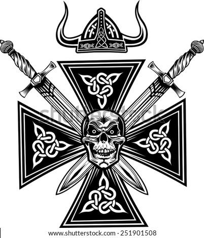 Vikings Skull with Sword  - stock vector
