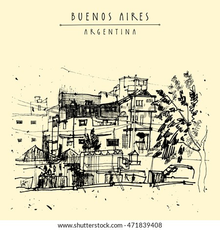 Villa 31, poor dangerous criminal ghetto favela district in Buenos Aires, Argentina, South America. Hand-drawn vintage book illustration, postcard or poster in vector