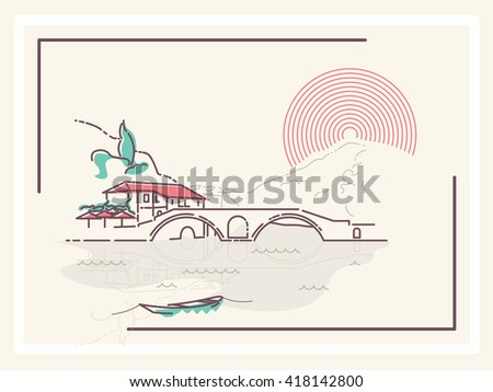 Village by the Bridge - minimalistic vector illustration - stock vector
