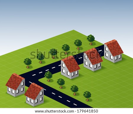 Village houses in the vector - stock vector