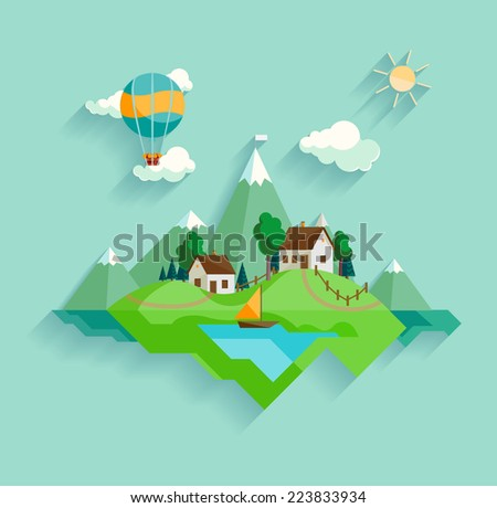Village landscape - stock vector