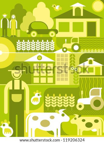 Village landscape collage - vector illustration. - stock vector