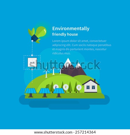 Village landscape. Environmentally friendly house. Flat design vector concept illustration with icons of ecology, environment, eco friendly energy and green technology.  - stock vector