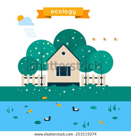 Village landscape with garden and lake. Human and environment. Spring. Ecology clean air. Flat design vector illustration. - stock vector