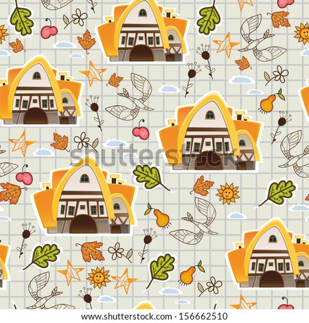 Village pattern background. - stock vector