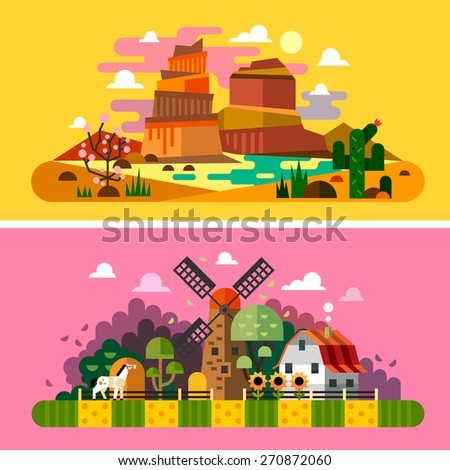 Village sunset landscapes: canyon, desert, cactus, mill, farm buildings, trees, field, bushes, hay. Landscapes of America, Wild West. Vector flat illustrations and backgrounds - stock vector