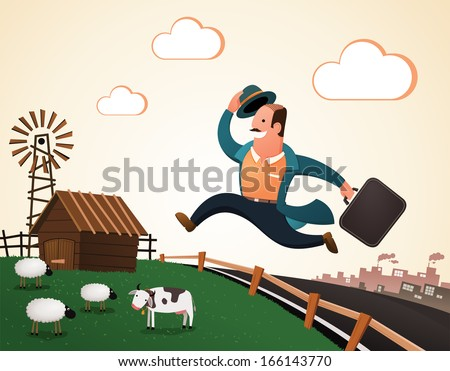 villager jumping and smiling happily, return to the village after his retirement enjoying his rest of life - stock vector
