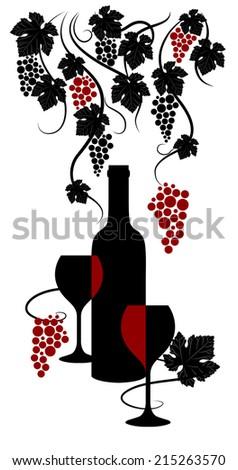 Vine abstract.  Wine list design. Vector illustration. - stock vector