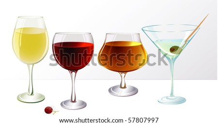 Vine and cocktail glasses. Vector.