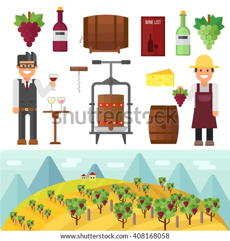 Vinery farm and vinery grape agriculture making vector. Vinery agriculture working beverage, traditional vinery farm production with grape press and red wine bottle. Vinery production, vine making. - stock vector