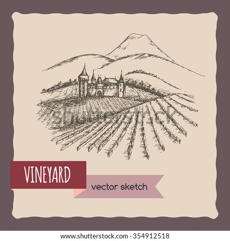 Vineyard, castle and mountain landscape hand drawn vector sketch. Great for vine and travel ads, brochures, labels. - stock vector