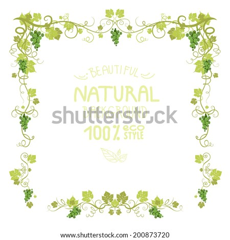 Vineyard frame with ripe grape. Place for text. - stock vector