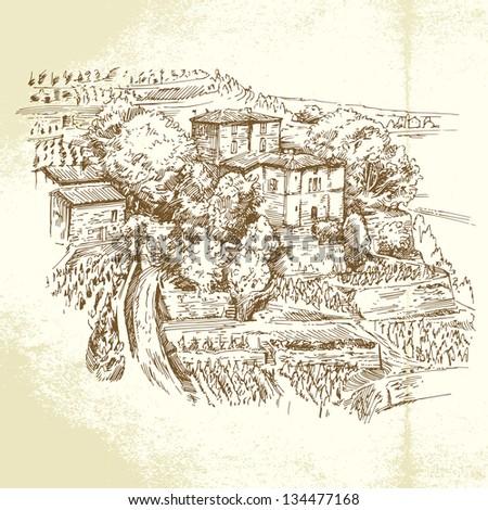 vineyard France - hand drawn illustration - stock vector