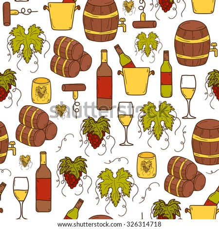 Vineyard or restaurnt concept with cartoon wine objects in hand drawn style and seamless background: bottle, glass, barrel, grapes for your design - stock vector