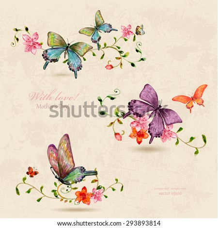vintage a collection of butterflies on flowers. watercolor painting - stock vector