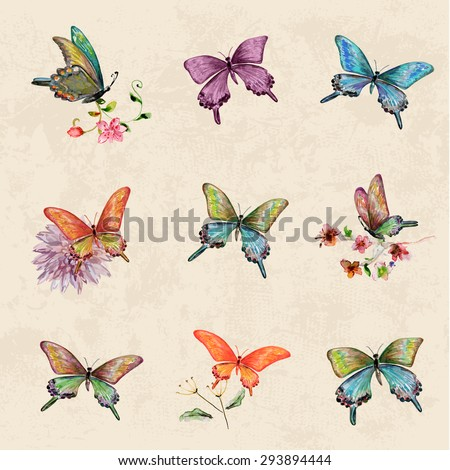vintage a collection of butterflies. watercolor painting - stock vector