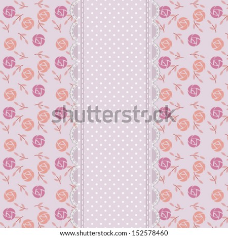 vintage abstract background with retro roses pattern, lace and polka dots, for invitation or greeting card. Vector, EPS 8  - stock vector
