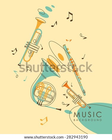 Vintage abstract background with wind musical instruments French horn, flute and trumpet in vintage sketch style - stock vector