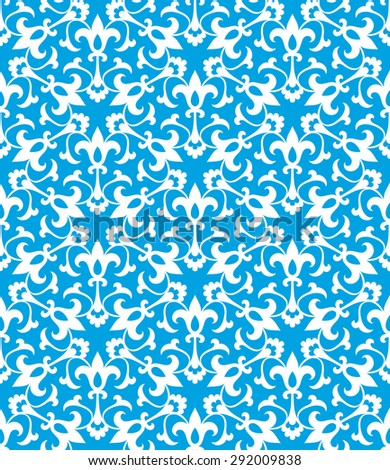 Vintage abstract floral seamless pattern. Intersecting curved elegant stylized leaves and scrolls forming abstract floral ornament in Arabic style on blue background. Arabesque.
