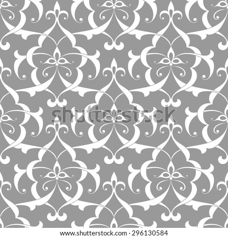 Vintage abstract floral seamless pattern with intersecting curved elegant stylized leaves and scrolls forming abstract floral ornament in Arabic style. Arabesque. - stock vector