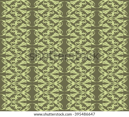 Vintage Abstract geometric  floral classic pattern ornament. Vector background for cards, web, fabric, textures, wallpapers, tile, mosaic. green color