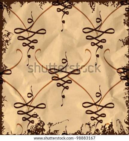 Vintage abstract pattern on old crumpled paper background. Vector illustration