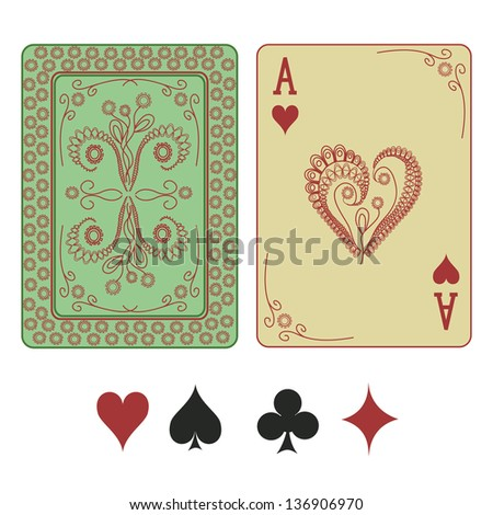 Vintage ace of hearts playing card with pattern back