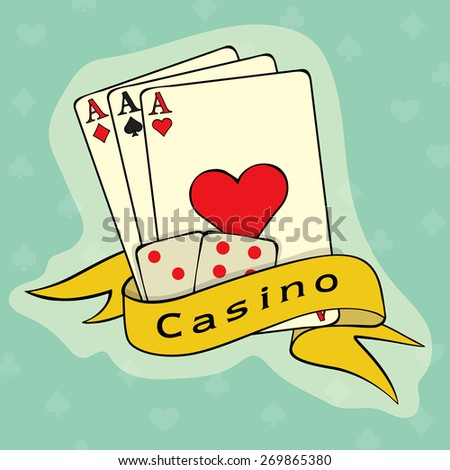 Vintage ace playing cards with Casino dices covered by yellow ribbon on blue background.  - stock vector