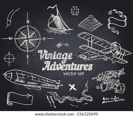 Vintage Adventures: vector set. Design elements  - stock vector